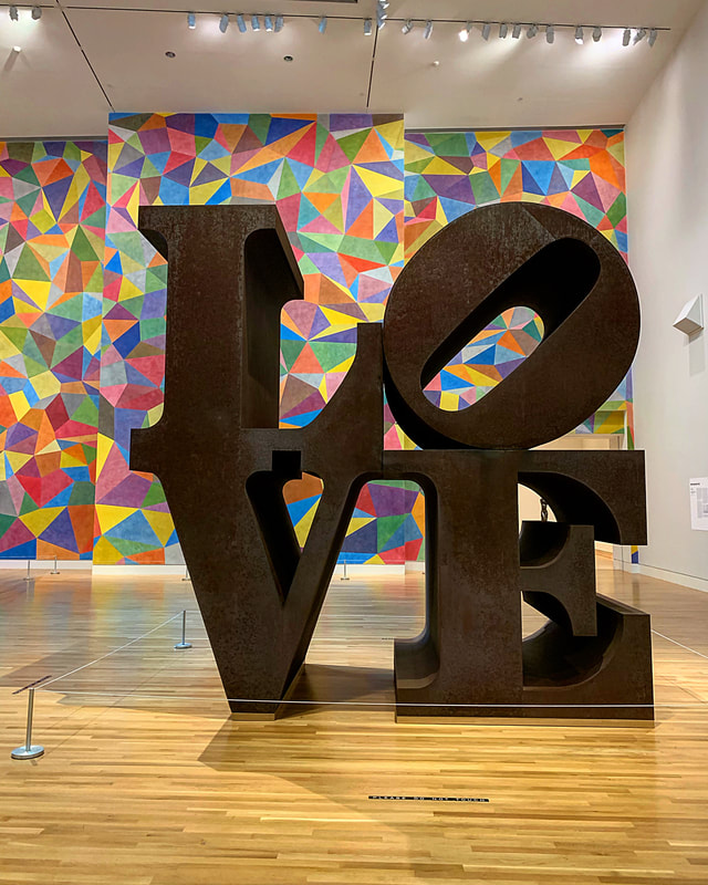 Robert Indiana Love Sculpture, Newfields. Visiting Newfields, Indianapolis.
