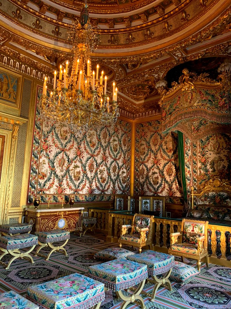 Opulent bedroom at The Chateau de Fontainebleau, Fontainebleau Castle