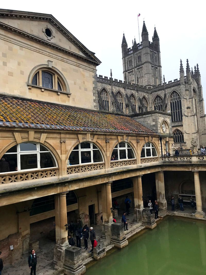 Interior of the Roman Baths, Bath, England. A Day Trip to Bath from London.