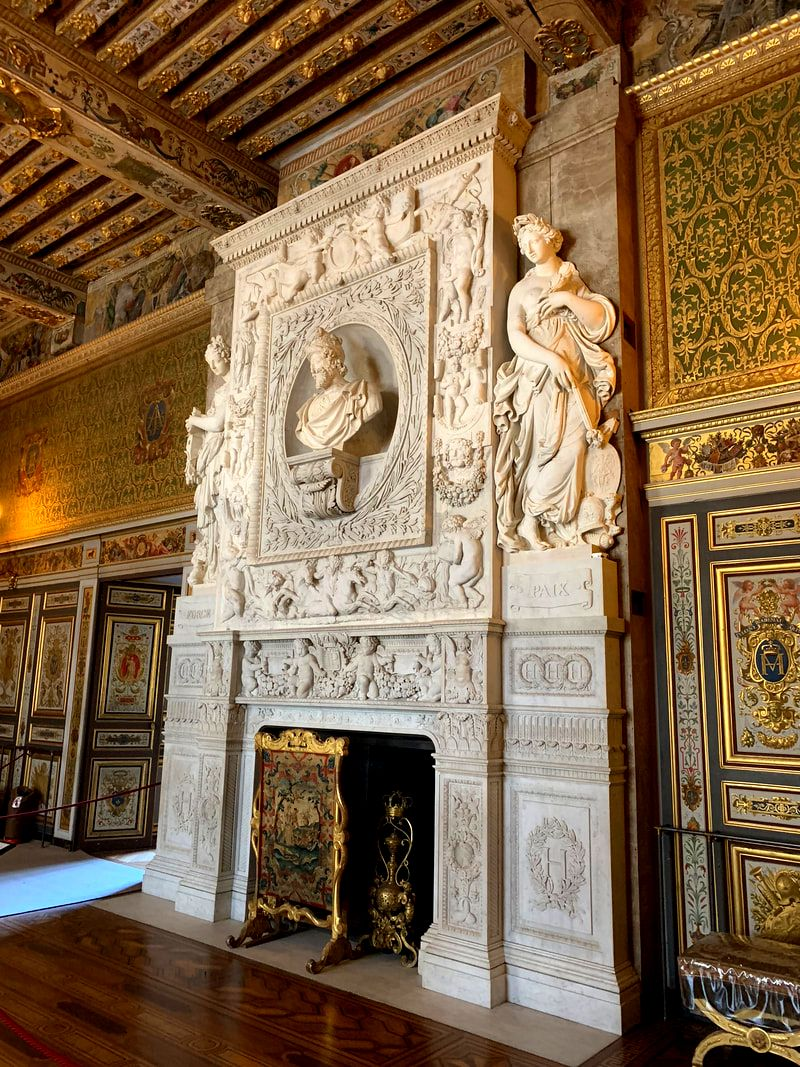 Fireplace at the Chateau de Fontainebleau, Fontainebleau, France