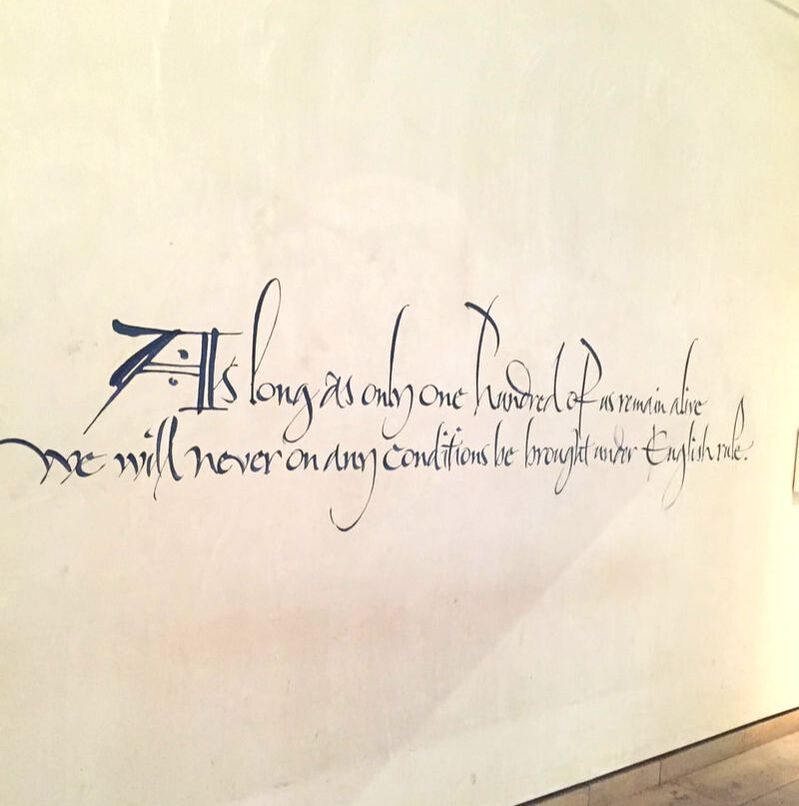 The Declaration of Arbroath in the National Museum of Scotland (original was written in 1320).