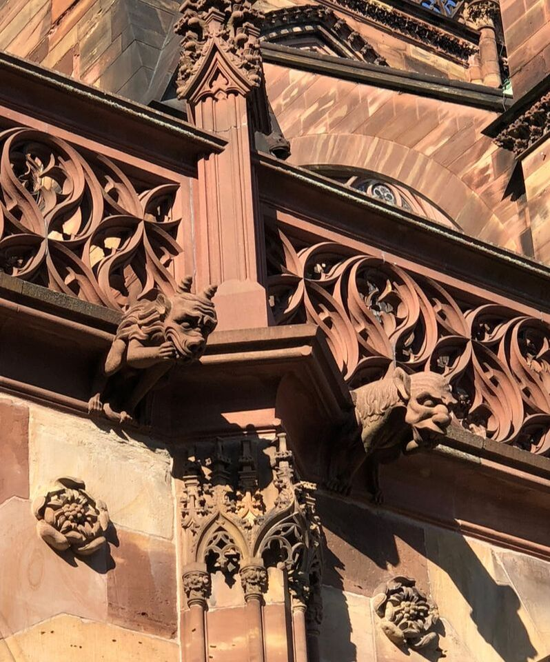 Gargoyles on Strasbourg Cathedral. A day trip from Paris to Strasbourg.