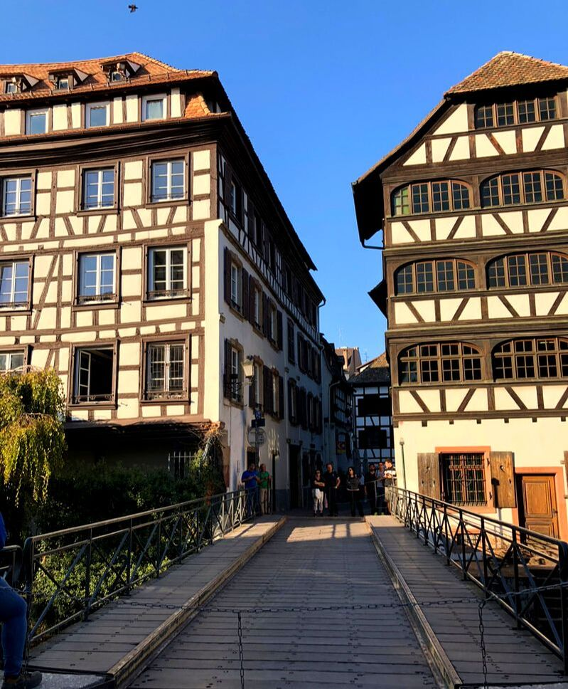 Drawbridge in Strasbourg, France.
