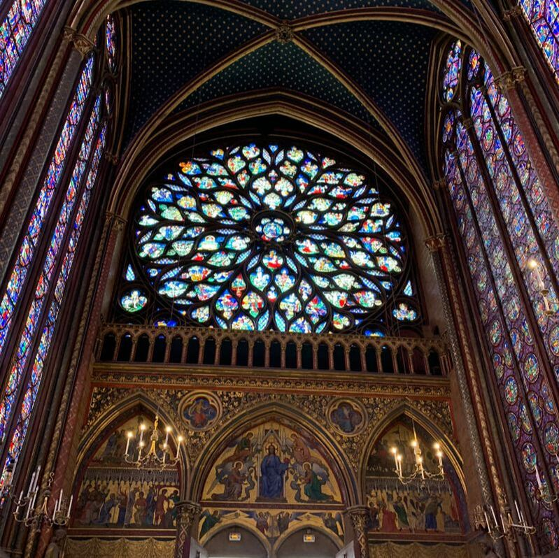 View of the rear of the upper chapel at Sainte-Chapelle, St Chapelle, Paris, France
