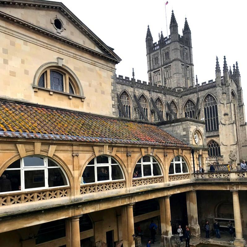 The Roman Baths and Bath Abbey, Visiting the UK Without Renting a Car