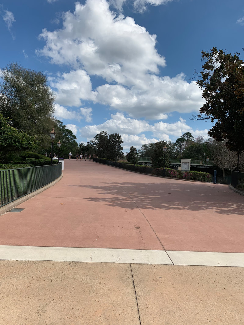 Walkway between the Beach Club Resort and Epcot entrance