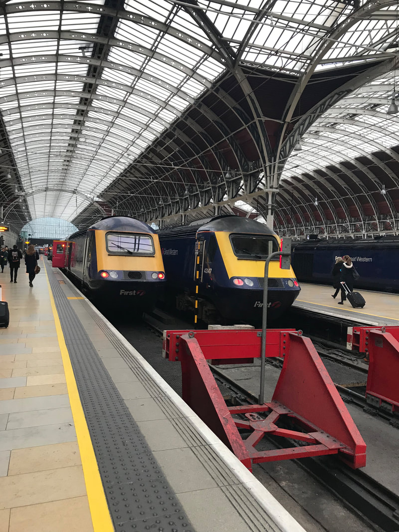 Train at Paddington Station. A Day Trip to Bath from London.