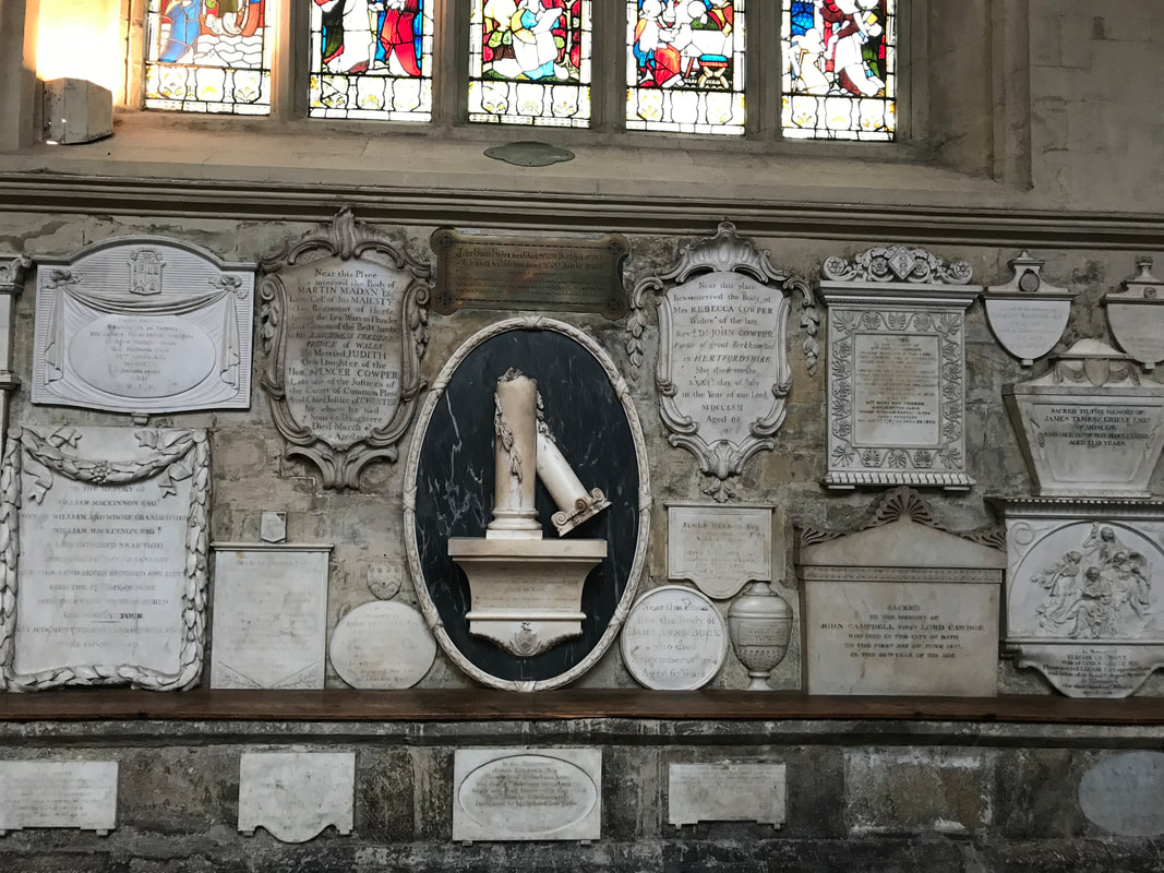 Tombs and burial markers at Bath Abbey. A Day Trip to Bath from London.